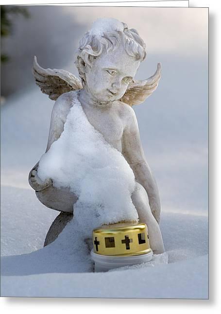 Sorrow Greeting Cards - Winter Angel Greeting Card by Marc Huebner