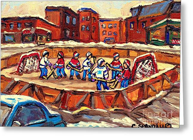 Outdoor Hockey Greeting Cards - Winter Fun At The Local Hockey Rink Verdun Montreal Paintings Best Canadian Art Snow Scene C Spandau Greeting Card by Carole Spandau