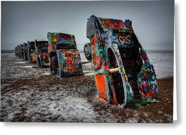 Installation Art Greeting Cards - Winter at Cadillac Ranch 001 Greeting Card by Lance Vaughn