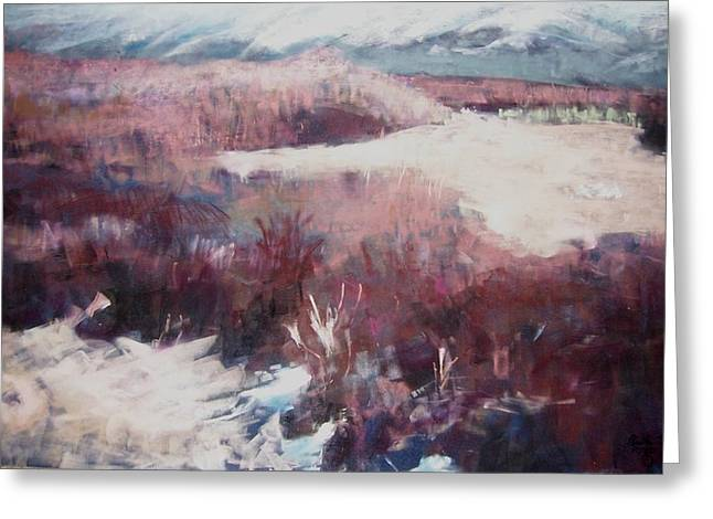 Snow Scene Landscape Pastels Greeting Cards - Winter at Fish Slough IV Greeting Card by Anita Stoll