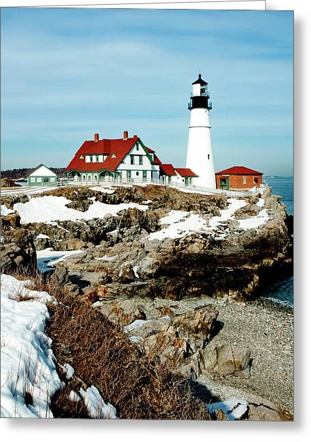 New England Lighthouse Greeting Cards - Winter at Portland Head Greeting Card by Greg Fortier