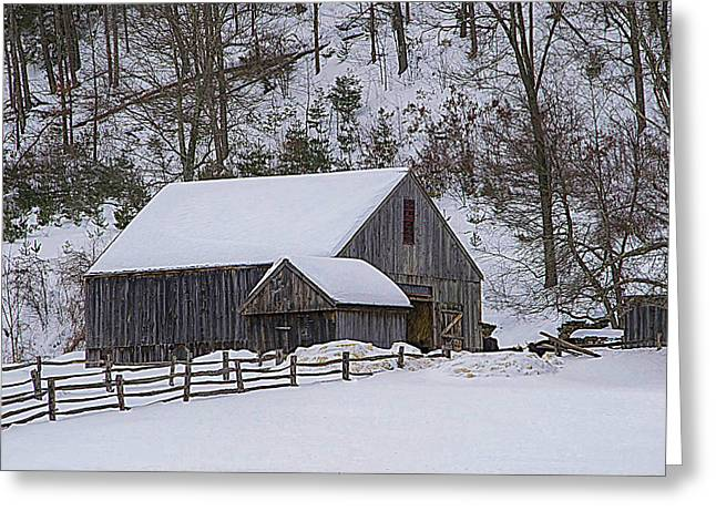 Wooden Building Mixed Media Greeting Cards - Winter At The Barn Greeting Card by Douglas Miller