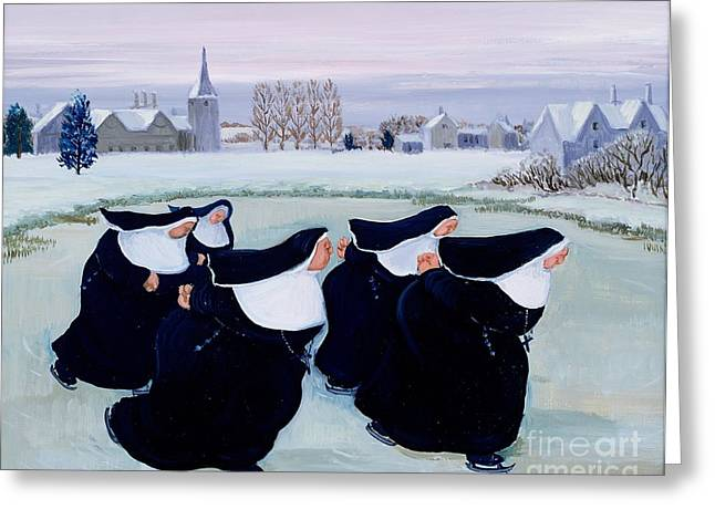 Skates Greeting Cards - Winter at the Convent Greeting Card by Margaret Loxton