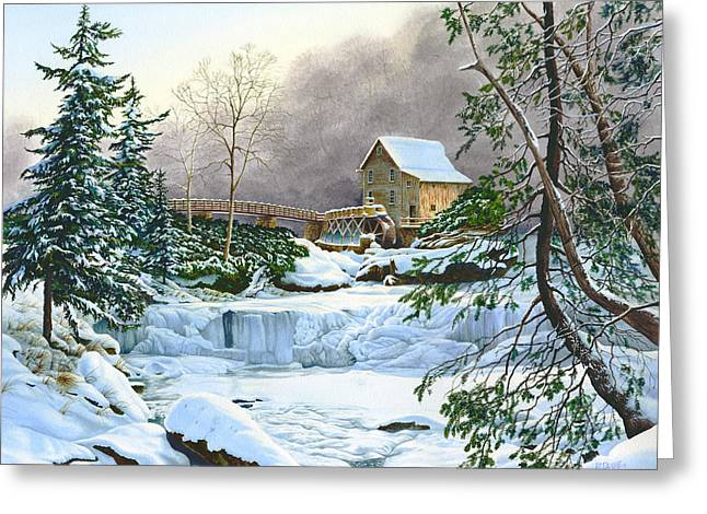 Grist Mill Paintings Greeting Cards - Winter at the Mill Glade Creek Grist Mill West Virginia Greeting Card by Richard Devine