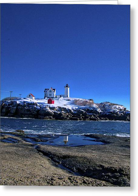 Winter At The Nubble Lighthouse - York - Maine IIi Greeting Card by Steven Ralser