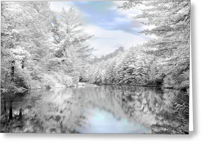 Infrared Greeting Cards - Winter at the Reservoir Greeting Card by Lori Deiter
