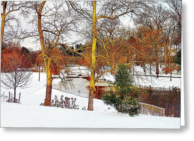 Winter At Woodbury Lake Greeting Card by Nick Zelinsky