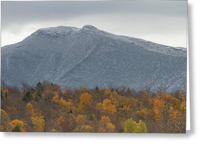 New England Snow Scene Greeting Cards - Winter Autumn Vermont Mount Mansfield mountain Greeting Card by Andy Gimino