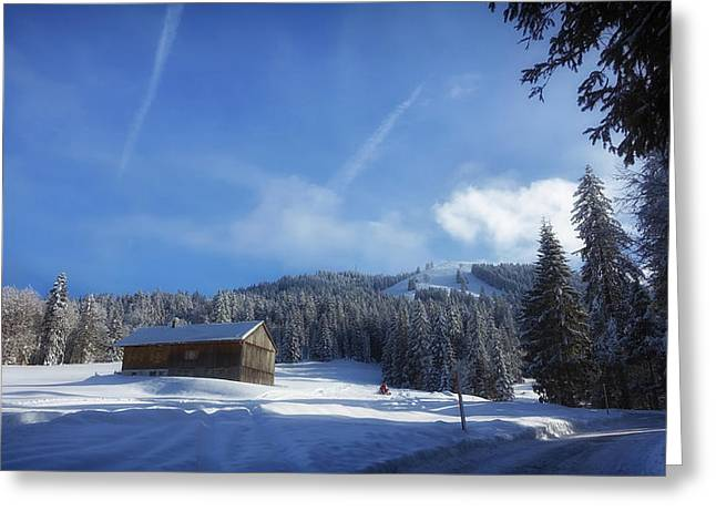 Winter Barn - Germany Greeting Card by Mountain Dreams