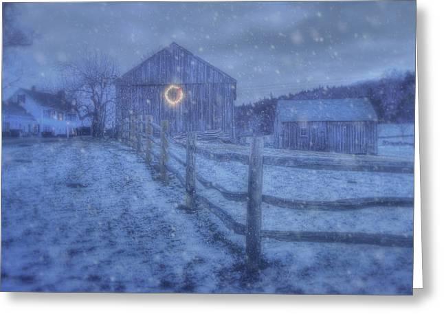 Winter Barn In Snow - Vermont Greeting Card by Joann Vitali