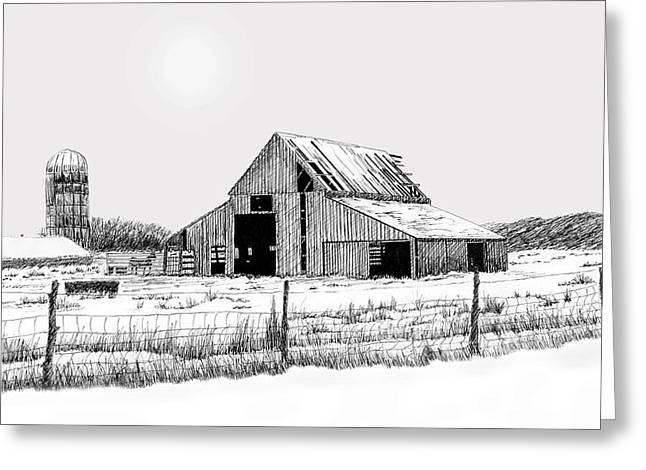 Best Sellers -  - Barn Pen And Ink Greeting Cards - Winter Barn Greeting Card by Lyle Brown