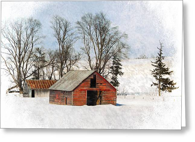 Winter Barn Greeting Card by Vicki McLead