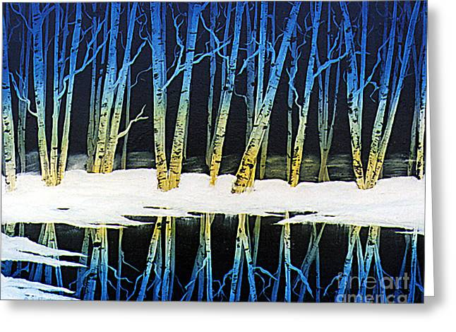 Ebsq Greeting Cards - Winter Birches Greeting Card by Dee Flouton