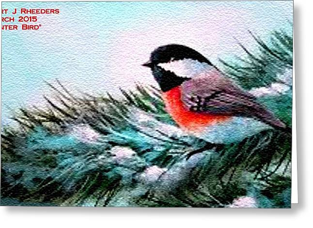 Message Pastels Greeting Cards - Winter Bird H a Greeting Card by Gert J Rheeders