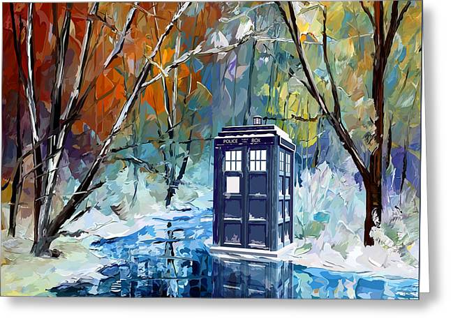 Fandom Greeting Cards - Winter blue phone box Greeting Card by three Second