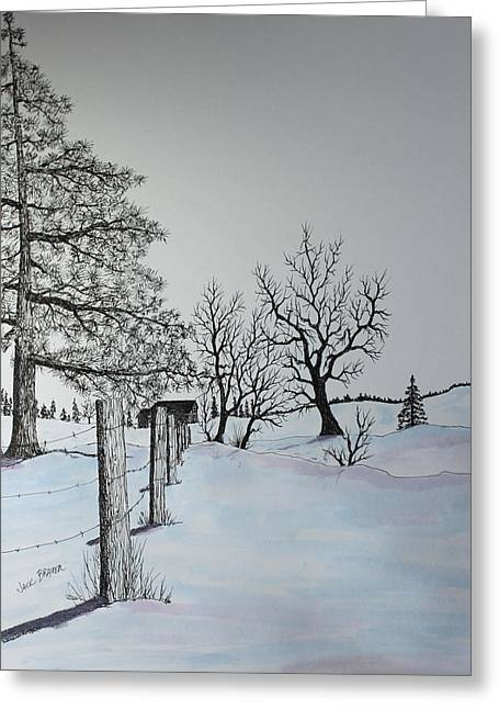 Pen Greeting Cards - Winter Blues Greeting Card by Jack G  Brauer