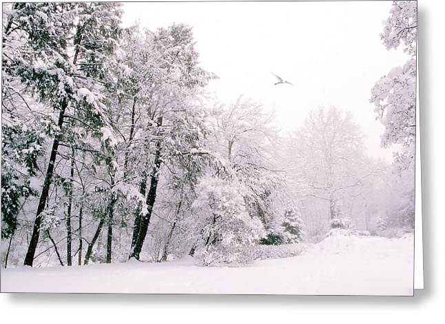 Snowstorm Greeting Cards - Winter Blues Greeting Card by Jessica Jenney