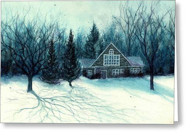 Winter Blues - Stone Chalet Cabin Greeting Card by Janine Riley