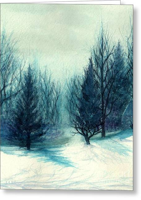 Winter Blues - Winter's Light Greeting Card by Janine Riley