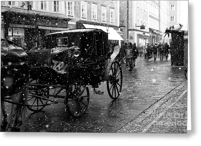 Art In Salzburg Greeting Cards - Winter Buggy in Salzburg Greeting Card by John Rizzuto