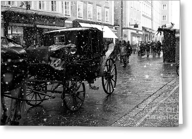Winter Buggy In Salzburg Greeting Card by John Rizzuto