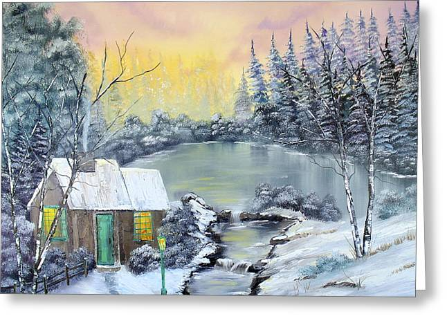 Log Cabins Greeting Cards - Winter Cabin Greeting Card by Kevin  Brown