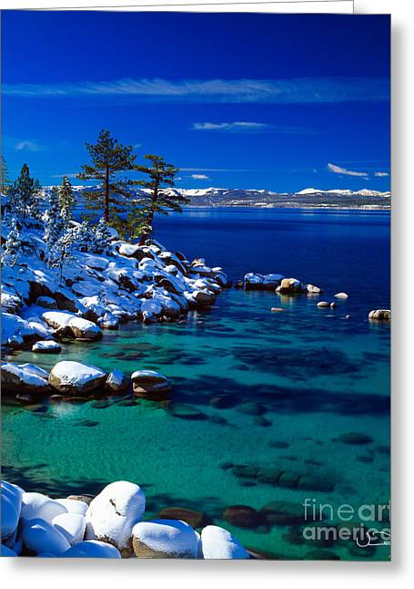 Calm Waters Photographs Greeting Cards - Winter Calm Lake Tahoe Greeting Card by Vance Fox