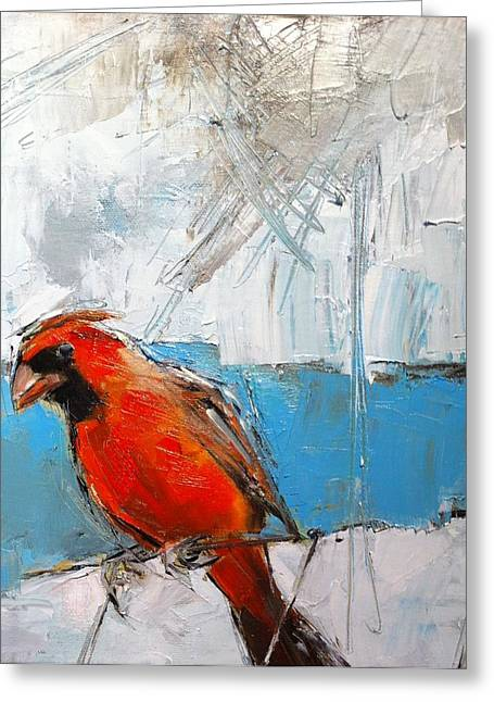 Winter Cardinal Greeting Card by Claire Kayser