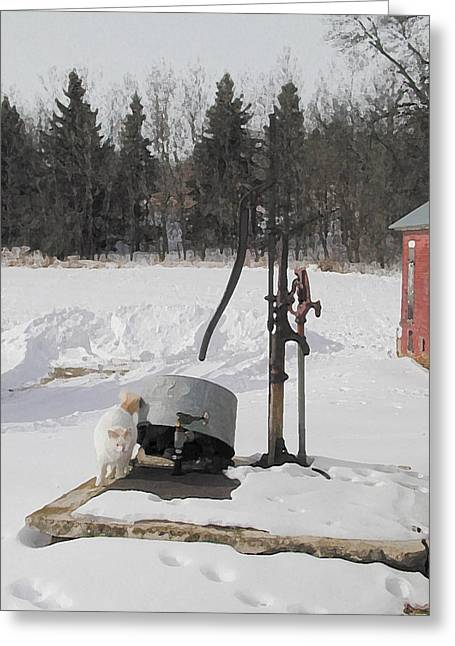 Farm Cat Greeting Cards - Winter Cat at the Pump Greeting Card by Laurie With