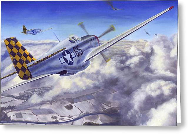 Propeller Paintings Greeting Cards - Winter Chase Greeting Card by David Gorski
