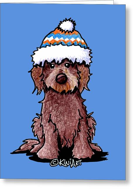 Goldendoodle Greeting Cards - Winter Chocolate Doodle Greeting Card by Kim Niles