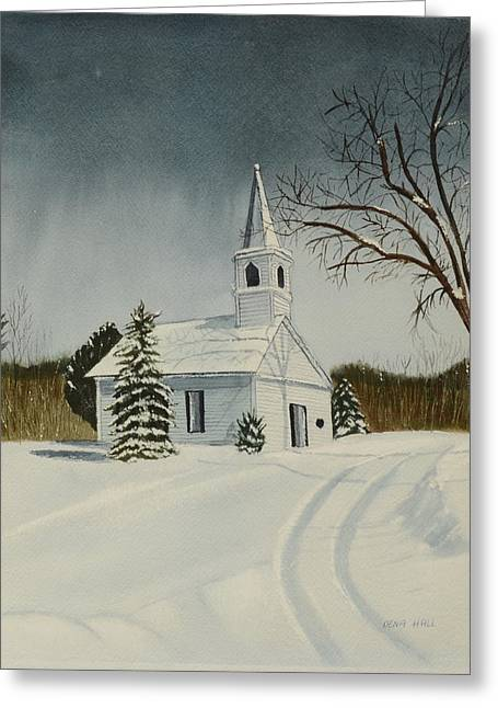 White Paintings Greeting Cards - Winter Church Greeting Card by Dena Hall