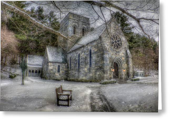Winter In New England Greeting Cards - Winter Church in New England Greeting Card by Joann Vitali