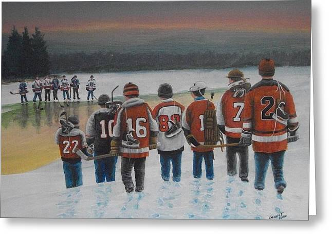 Youth Hockey Paintings Greeting Cards - Winter Classic 2012 Greeting Card by Ron  Genest