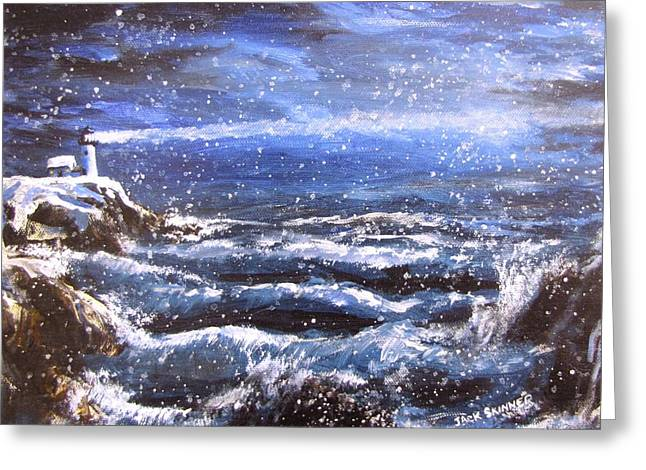 Jack Skinner Paintings Greeting Cards - Winter Coastal Storm Greeting Card by Jack Skinner