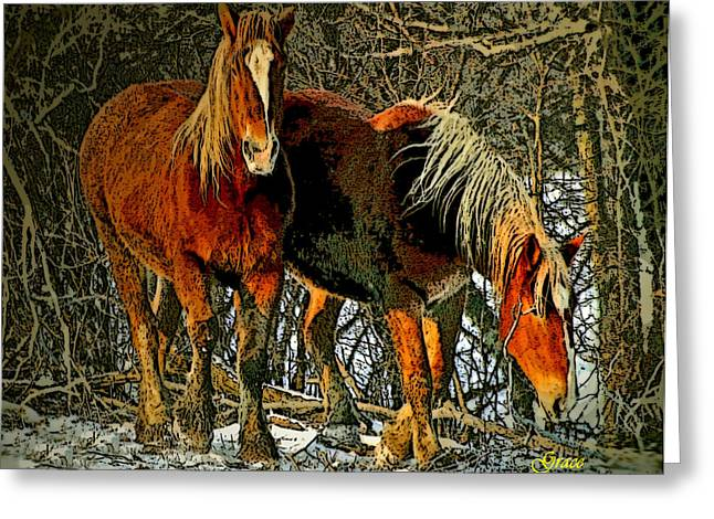 Winter Coats Greeting Card by Julie Grace