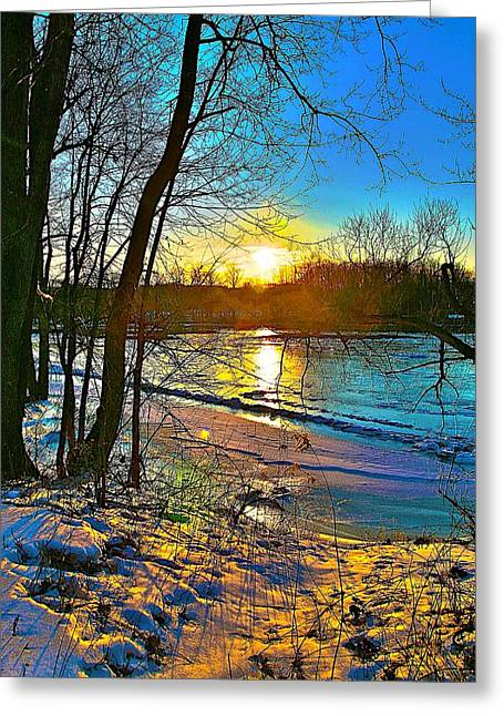 Snow Scene Mixed Media Greeting Cards - Winter color Greeting Card by Robert Pearson