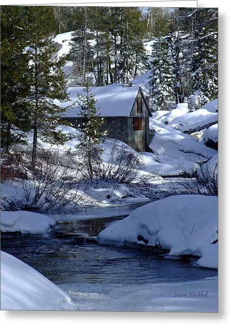 Stone House Greeting Cards - Winter Cottage Greeting Card by Donna Blackhall