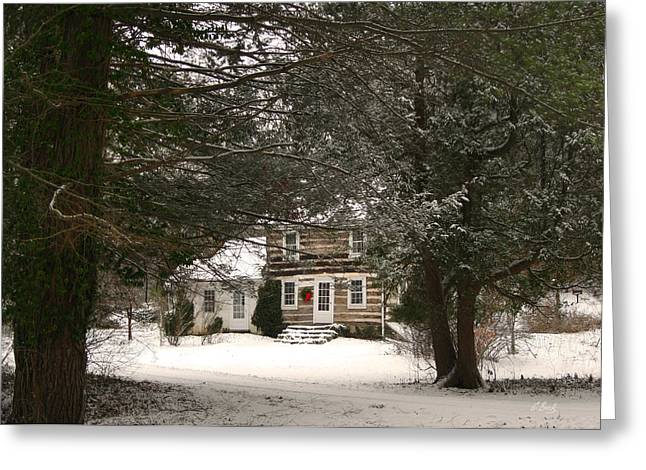 Snow Scene Mixed Media Greeting Cards - Winter Cottage Greeting Card by Gordon Beck