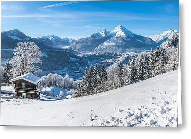 Swiss Photographs Greeting Cards - Winter Dream in the snowy Bavarian Alps Greeting Card by JR Photography