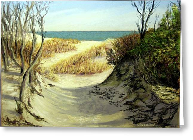 Atlantic Beaches Pastels Greeting Cards - Winter Dunes Greeting Card by Joan Swanson