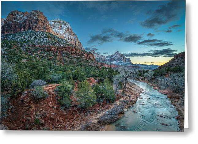 Winter Dusk At Zion National Park Greeting Card by James Udall
