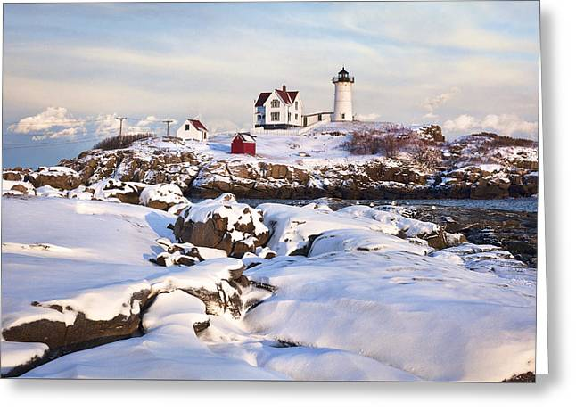 Winter Evening At Nubble Lighthouse Greeting Card by Eric Gendron