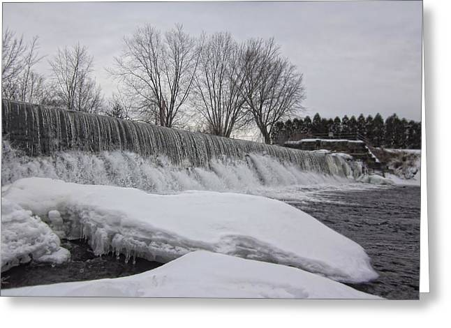 New England Snow Scene Greeting Cards - Winter Falls Greeting Card by MTBobbins Photography