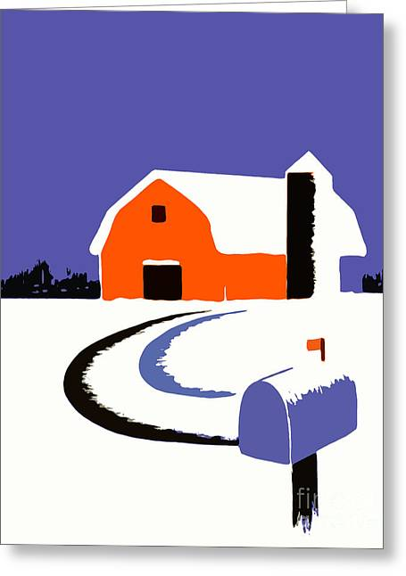Silkscreen Greeting Cards - Winter Farm Scene Poster Graphic Greeting Card by Edward Fielding