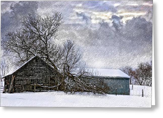 Winter Farm Greeting Card by Steve Harrington