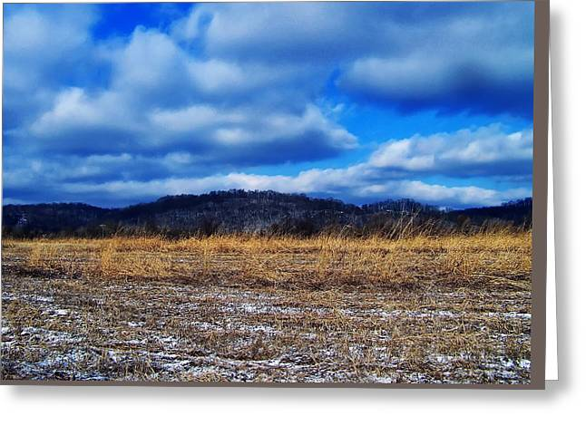 Landscape Posters Digital Greeting Cards - Winter Field Greeting Card by Chris Flees