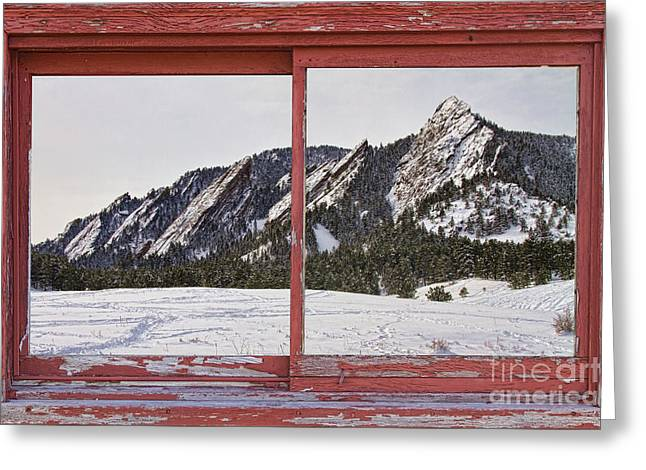 Winter Picture Greeting Cards - Winter Flatirons Boulder Colorado Red barn Picture Window Frame  Greeting Card by James BO  Insogna