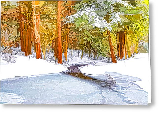Winter Forest And A River With Snow And Ice Greeting Card by Lanjee Chee
