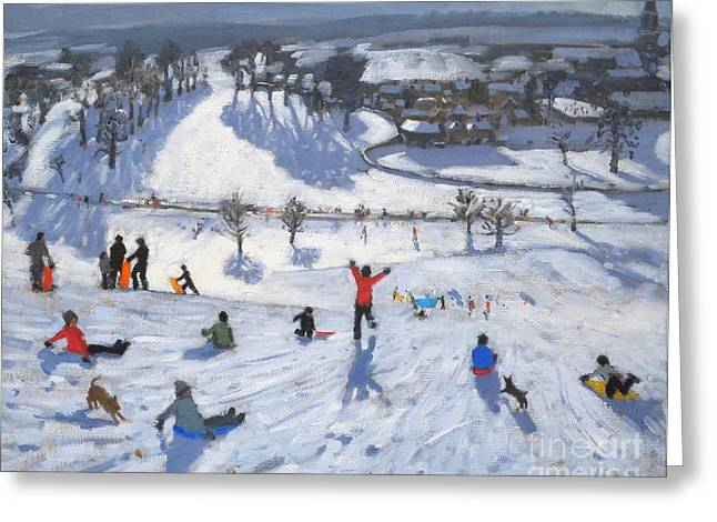 Winter Landscape Paintings Greeting Cards - Winter Fun Greeting Card by Andrew Macara